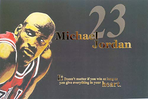 Poster Tunes, Michael Jordan, Classic NBA Player, Gold Highlighted Poster, Chicago Bulls, Washington Wizards, Number 23, 18x12 Size, Rookie of The Year, Champion, Poster Packed in Tube