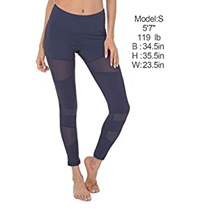 Queenie Ke Women Power Tech Mesh High Waist Gym Yoga Leggings Running Pants Size M Color Dark Blue