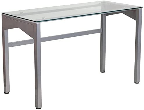 Flash Furniture Contemporary Clear Tempered Glass Desk with Geometric Sides
