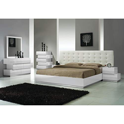 Best Master Furniture Spain Modern Lacquer 5 Pcs Bedroom Set, Queen, White