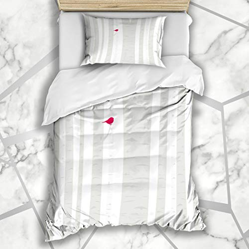 (Ahawoso Duvet Cover Sets Twin 68X86 Aspen Gray Winter Birdie Little Red Perches Abstract Branch Tree Nature Forest Bark Bird Cardinal Microfiber Bedding with 1 Pillow Shams)