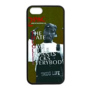 CTSLR Laser Technology 2Pac Tupac Amaru Shakur Protective TPU Case Cover Skin for Apple iPhone 5/5s- 1 Pack - Black - 2