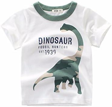 Baby Boy Kids Korean Summer Short-Sleeves Cartoon Dinosaur T-Shirt
