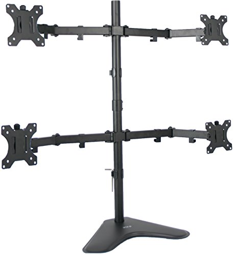 (VIVO Quad LCD Computer Monitor Mount Free Standing Heavy Duty Desk Stand, Fully Adjustable | Holds 4 Screens up to 30 inches (STAND-V004F))