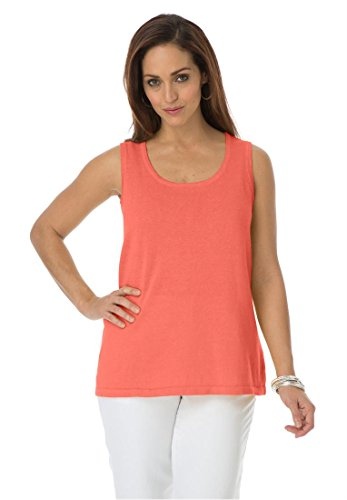 Jessica London Women's Plus Size Linen-Blend Tank Top Dusty Coral,30/32