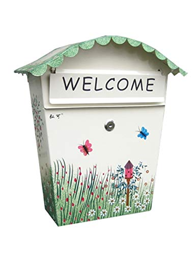 ZYear Outside Mailboxes Locking Green Plant Painted Modern Houses Front Porch Residential Outdoor Rural Roadside Metal Post Box Key Lockable Office Letterbox -