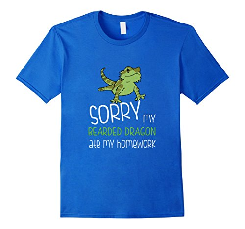 Mens FUNNY BEARDED DRAGON T-SHIRT ATE HOMEWORK Student School Small Royal Blue (Bearded Halloween Costume)
