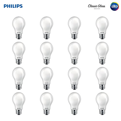 Philips LED Classic Glass Non-Dimmable A19 Light Bulb: 800-Lumen, 2700-Kelvin, 7-Watt (60-Watt Equivalent), E26 Base, Soft White, Frosted, 16-Pack