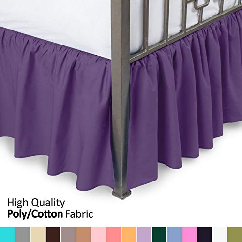 Ruffled Bed Skirt with Split Corners, Day Bed, Grape, 14