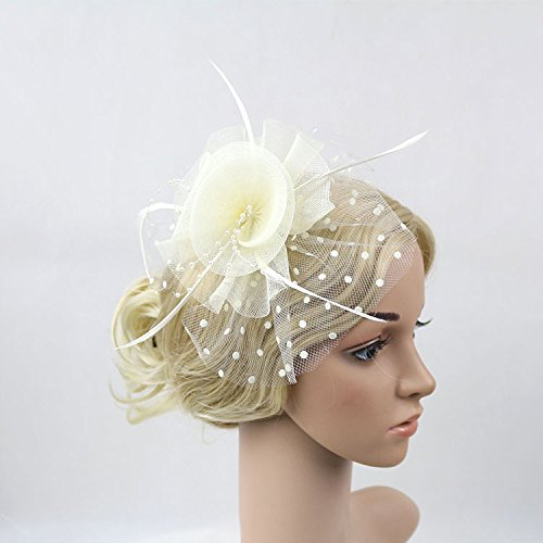 Meiliy Womens Fascinator Hat with Clip and Brooch Flower Bridal Headpieces For Wedding Performance and Party, (Party Headpiece)