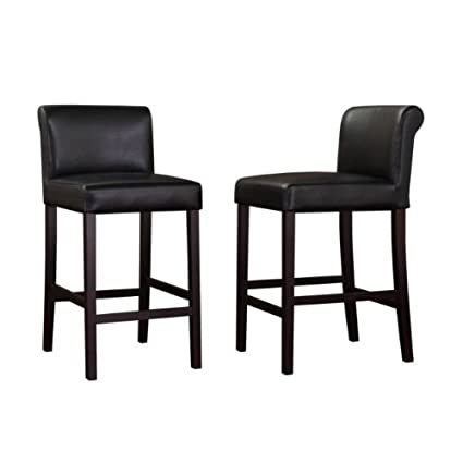 Amazon Com Black Leather Counter Stools Set Of 2 Kitchen Dining