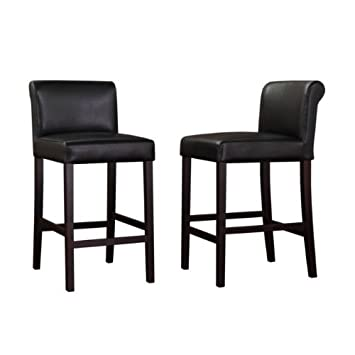 Merveilleux Black Leather Counter Stools (Set Of 2)
