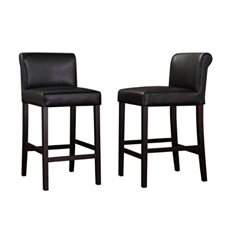Black Leather Counter Stools (Set of 2)  sc 1 st  Amazon.com & Amazon.com: Black Leather Counter Stools (Set of 2): Kitchen u0026 Dining islam-shia.org