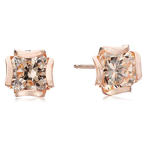 14K Rose Gold Plated .925 Sterling Silver Champagne Cubic Zirconia Flower Basket Style Setting 1/4 Stud Earrings
