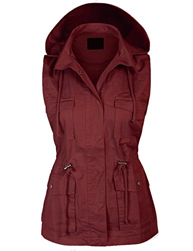 KOGMO Womens Military Anorak Safari Utility Vest with Hood-3X-WINE by KOGMO