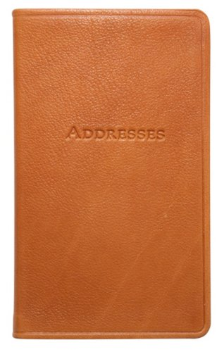 (5 Inch Leather Bound Pocket Address Book, Genuine Calfskin Leather, 750 Entries, British Tan)