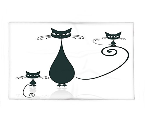 Interestlee Fleece Throw Blanket Cat Lover Decor Collection Cat Silhouette Mom and Kids Animals Simplicity Halloween Decorative Illustration Black White - Paper Doll Cut Out Halloween Costumes
