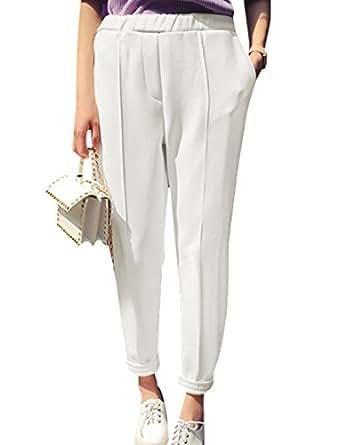 Woman Elasitc Waist Mock Pocket Back Tapered Leg Casual Pants White XS