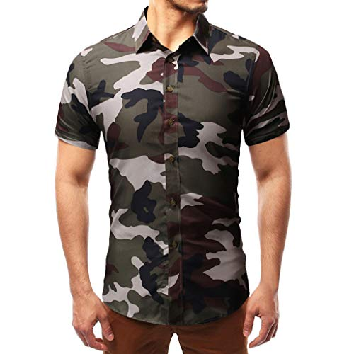 Men's Polos Shirts,Gibobby Green Blue Gray Casual Camouflage Printed Short Sleeve Buttons Summer Shirt