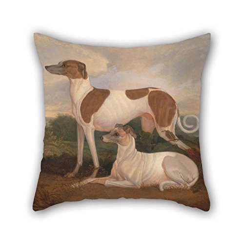 beeyoo 20 X 20 inches / 50 by 50 cm Oil Painting Charles Hancock - Two Greyhounds in A Landscape Throw Cushion Covers Double Sides Ornament and Gift to Office Teens Relatives Coffee House Home Office