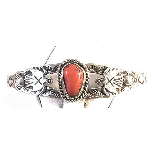 - Nizhoni Traders LLC Navajo Sterling Silver Coral Cuff Bracelet
