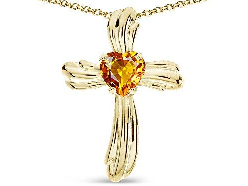 Star K Heart Shape 6mm Genuine Citrine Ribbed Cross Of Love Pendant Necklace 14k Yellow Gold