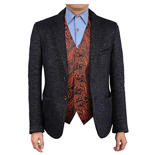Epoint EGC1B01E-2XL Black Orange Patterned Gift Ideas for Boyfriend Waistcoat Woven Microfiber Happy Valentines Day Gift XX-Large Vest