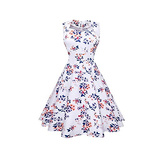 (Small-star Women 50s 60s Rockabilly Retro Dresses Sexy Summer Audrey Hepburn Big Swing Party Robes,Den 07677,L)