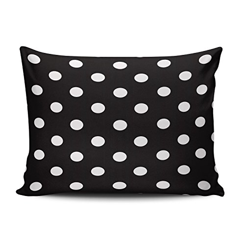 Hoooottle Custom Fancy Plush Black and White Polka Dot Standard Pillowcase Rectangle Zippered One Side Printed 20x26 Inches Throw Pillow Case Cushion Cover