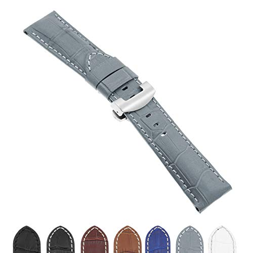 DASSARI Croc Crocodile Embossed Leather Men's Watch Band Strap with Brushed Silver Deployant Deployment Clasp for Panerai - Extra Long - 22mm 24mm 26mm