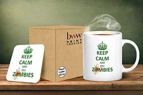 Keep Calm and Kill Zombies tazza e sottobicchiere abbinati –  stampato tazza & sottobicchiere set regalo BWW Print Ltd