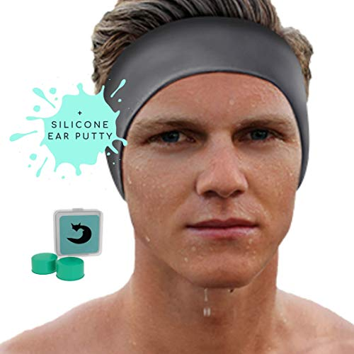 SWIMMING HEADBAND for EARTUBES BLACK SMOOTH ADULTS -10 YEARS - UNISEX + FREE EARPLUGS (Putty) -LARGE RANGE DESIGNS/PRINTS - PREVENT EAR INFECTIONS - The #1 ENT Physician RECOMMENDED SWIM EARBAND.