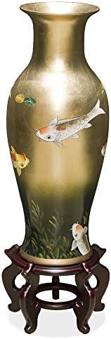 ChinaFurnitureOnline Tall Porcelain Vase with Prosperity Koi on Gold Leaf