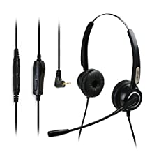AGPtek® Hands-free 2.5mm Call Center Binaural Telephone Headset with Noise Canceling Mic + 3.5MM QD + Volume Mute for Cisco Linksys SPA Polycom Grandstream Panasonic Zultys & Gigaset Office IP & Cordless Dect Phones
