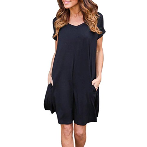 Pervobs Dress, Clearance! Women Loose Pullover Dress Short Sleeve Solid O-Neck Beach Evening Casual Mini Dress (XL, Black) ()