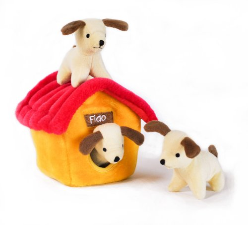 Zippy Burrow Dog House – Squeaky Plush Hide-and-Seek Dog Toy, My Pet Supplies