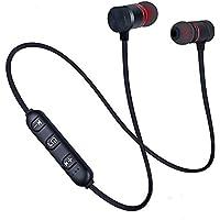 Bluetooth earphones Sports Neckband Magnetic Earphone Wireless Stereo headset Music Metal Headphones (Black)