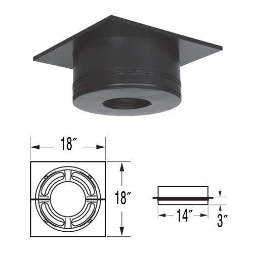 M G Duravent 6DP-RCS 6 Inch Dura-Vent Dura/plus Round Ceiling Support Galvalume Painted Black Trim Collar Included by - 6 Inch Trim Dura Vent