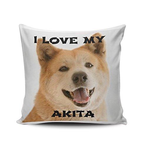 Fanaing Akita and Love Pillowcase Home Sofa Decorative 26X26 Inch European Throw Pillow Case Decor Cushion Covers One-Side Printed