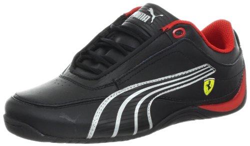 PUMA Drift Cat 4 Leather Ferrari Fashion Sneaker (Infant/Toddler/Little Kid/Big Kid),Black/Black/Silver Metallic,4.5 M US Big Kid ()