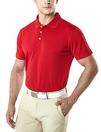 TSLA Men's Dri Flex Tech Polo Premium Active Fit Solid Top Shirt MTK10-RED