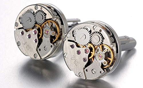 RXBC2011 Upgraded Version Deluxe Steampunk Watch Mens Vintage Watch Movement Shape Cufflinks Come in an Elegant Storage Display Box (with GIFTBOX) by RXBC2011 (Image #3)