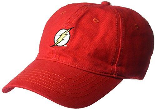 Warner Bros. Men's The Flash Washed Baseball Cap, Adjustable, red, One Size -
