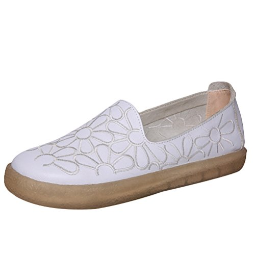 Style1 New Floral Loafers Flat white On Round Toe Slip Women's Leather Shoes Minibee zqxPaUU