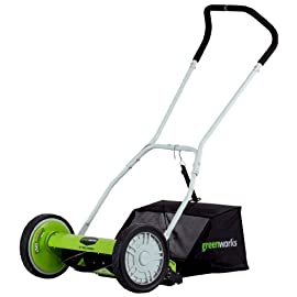 "Greenworks 91 16"" cutting path gets the job done quicker and more efficiently 2-in-1 feature provides mulching and rear bag capabilities 4 position height adjustment offers a range of cutting height from 1 1/8"" to 2 1/4"" for the perfect cut on all grass types"