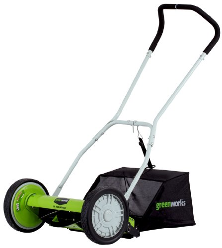 Greenworks 16-Inch Reel Lawn Mower with Grass Catcher 25052 (Power Mower Reel)