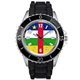 Central Africa Country Flag watch with silicone band