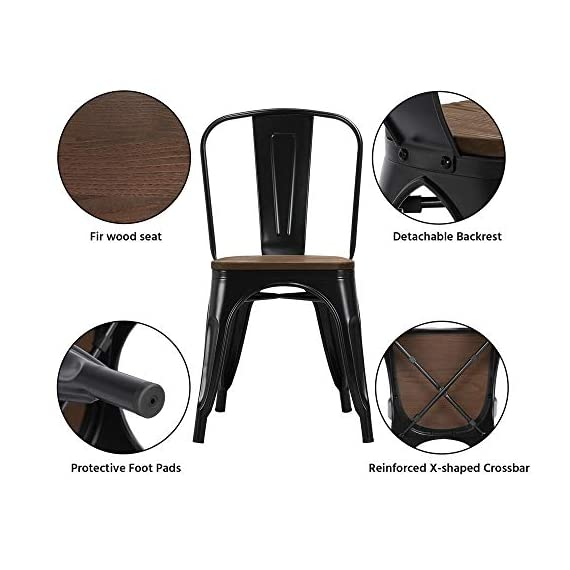 Yaheetech 18 Inch Classic Iron Metal Dinning Chair with Wood Top/Seat Indoor-Outdoor Use Chic Dining Bistro Cafe Side Barstool Bar Chair Coffee Chair Set of 4 Black - 🐬Solid & durable: The seat of the side chair is made of wood and the other parts are made of iron. Offer you a comfortable seat and solid support. It is solid enough for your daily needs. The load-bearing capacity is 150kg/330lb. 🐬Stackable design with scratch-proof pads: You can stack these armless chairs on top of the other to save space for unused time. Rubber feet under the chair legs keep floors from sliding and scratching. Also, the rubber pads can reduce noise when you move the chairs. 🐬X-shape brace: The wooden surface is tightly screwed to the chair and the seat of the dinning chair is enforced by an X-shape brace below to provide more stability and load bearing. - kitchen-dining-room-furniture, kitchen-dining-room, kitchen-dining-room-chairs - 412KGMcwfPL. SS570  -