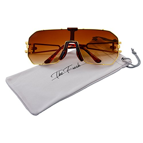 The Fresh Gradient Color Single Lens Metal Wraparound Shield Sunglasses with Gift Box (3-Gold, Brown Gradient) -