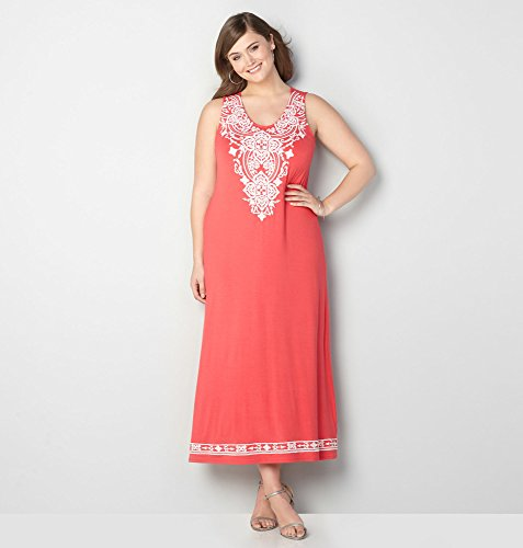 AVENUE-Womens-Embroidered-Maxi-Dress